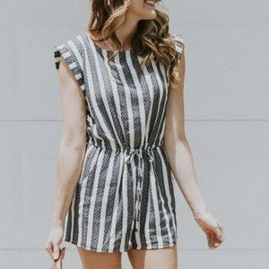 Navy and white striped brocade romper